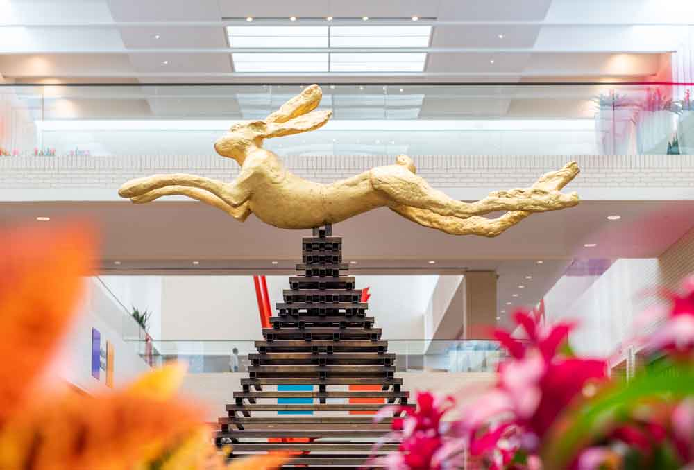 large leaping hare by barry flanagan