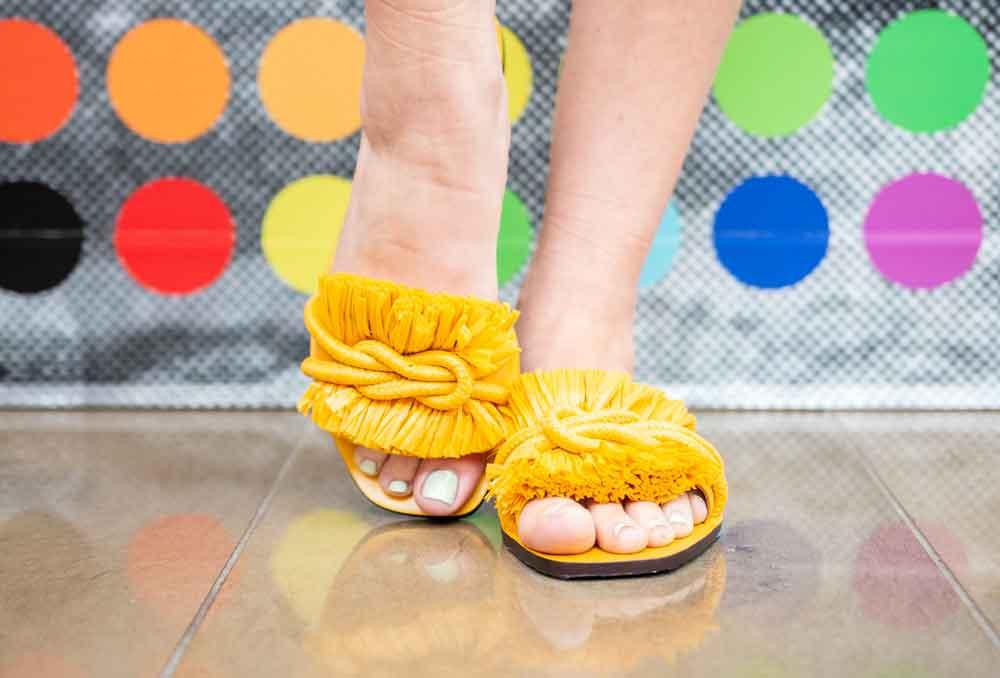 tory burch yellow slide sandal