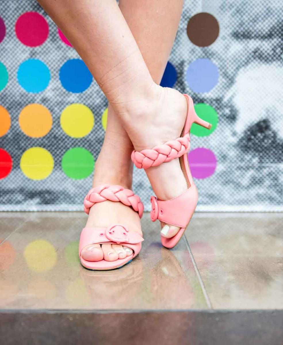 coach pink kitten heel