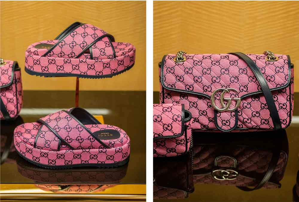 gucci pink slides and bag